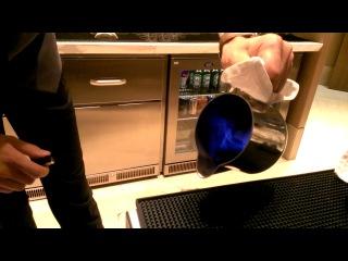 Bartender Vugar making the Blue Braizer